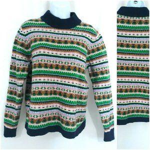 J Crew Mock Neck Fair Isle Wool Pullover Sweater